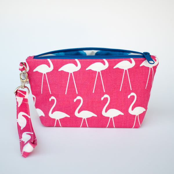 Pink Flamingos Zipper Wristlet