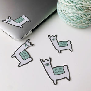 Knit ALL the Things -- vinyl sticker