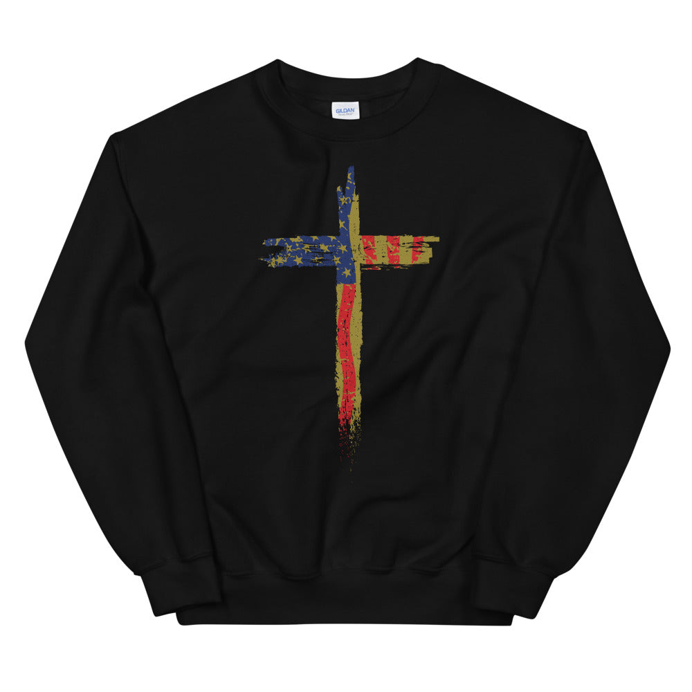 Patriotic Cross Black Sweatshirt