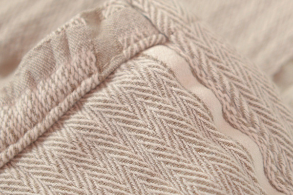 Abside Cotton Blanket - Linen/White