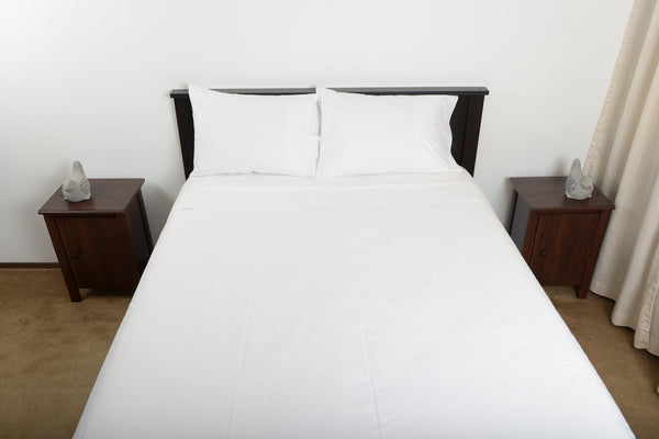 Classic percale cotton sheets white top foot end view by excess comfort made in portugal