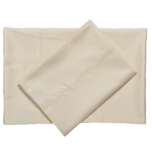 Ivory supreme sateen egyptian cotton sheets top downward view made in the usa of fabric made in israel by excess comfort