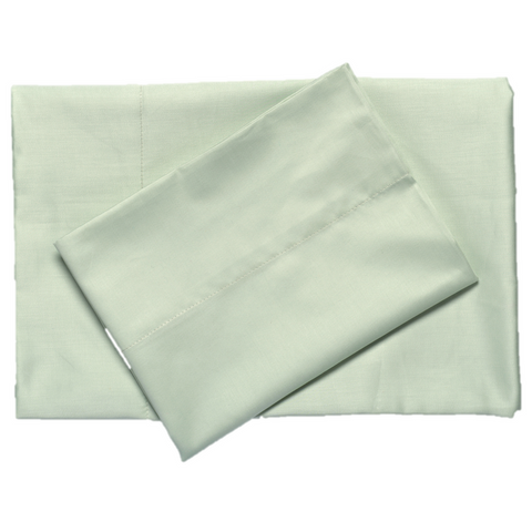 Sage supreme sateen egyptian cotton sheets top downward view made in the usa of fabric made in israel by excess comfort