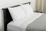 Second shot excess comfort top side view classic percale cotton sheets white with netting cotton blanket grey ecru made in portugal