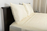 Supreme sateen egyptian cotton sheets ivory second shot top side foot view by excess comfort made in usa of fabric made in israel