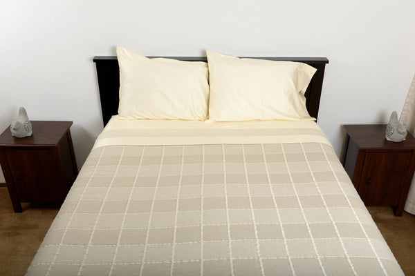 Supreme sateen egyptian cotton sheets ivory with abside cotton blanket linen white top foot end view by excess comfort