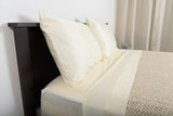 Supreme sateen egyptian cotton sheets ivory with netting cotton blanket linen ecru top side view by excess comfort