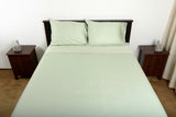 Supreme sateen egyptian cotton sheets sage top foot end view by excess comfort made in usa of fabric made in israel