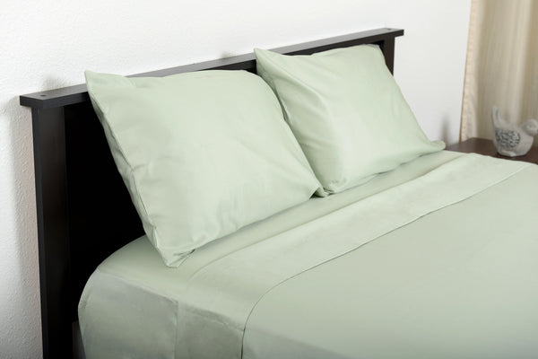 Supreme sateen egyptian cotton sheets sage top side foot view by excess comfort made in usa of fabric made in israel