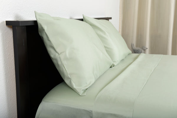 Supreme sateen egyptian cotton sheets sage top side view by excess comfort made in usa of fabric made in israel
