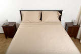 Supreme sateen egyptian cotton sheets stone top foot end view by excess comfort made in usa of fabric made in israel