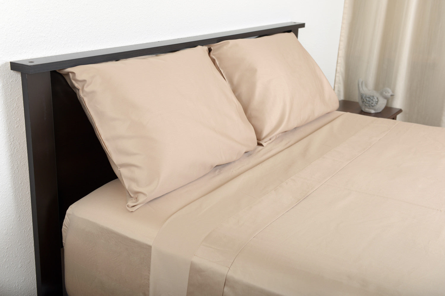 Supreme sateen egyptian cotton sheets stone top side foot view by excess comfort made in usa of fabric made in israel