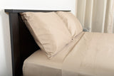 Supreme sateen egyptian cotton sheets stone top side view by excess comfort made in usa of fabric made in israel