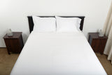 Supreme sateen egyptian oversized cotton sheets white top foot end view by excess comfort made in usa of fabric made in israel