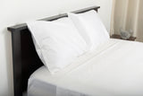 Supreme sateen egyptian cotton sheets white top side foot view by excess comfort made in usa of fabric made in israel
