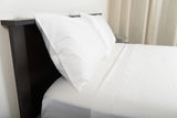 Supreme sateen egyptian cotton sheets white top side view by excess comfort made in usa of fabric made in israel