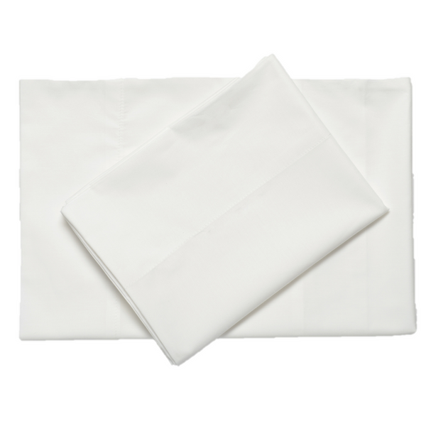 White classic percale cotton sheets top downward view made in portugal by excess comfort
