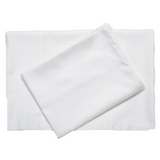 White supreme sateen egyptian cotton sheets top downward view made in the usa of fabric made in israel by excess comfort