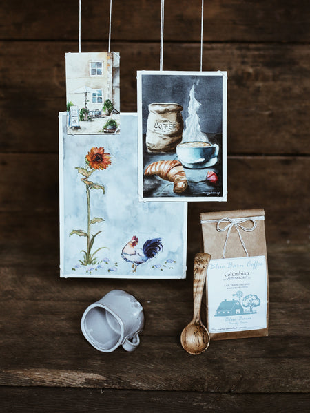 Coffee Themed Giveaway, Old World Kitchen, Hand and Fire, Blue Barn Family Farm, Amelia Polder Art, Little Wren Design Co, Mary Elizabeth Polder Art