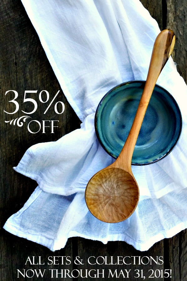 Save 35% on all sets and collections of handmade wooden spoons and kitchen utensils!