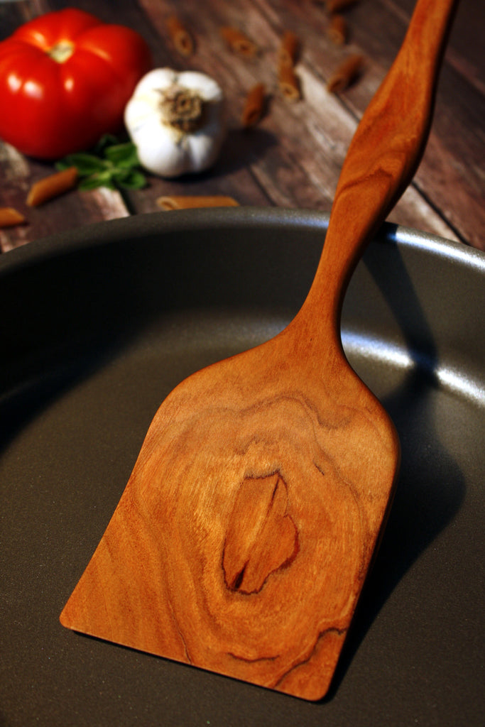 Cherry Wood Large Curved Kitchen Spatula