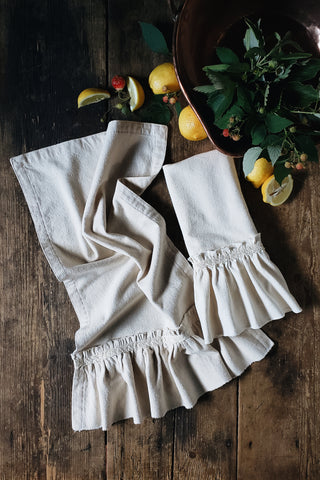 *NEW* 100% Organic Cotton Ruffled Tea Towel