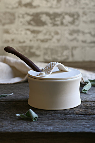 Porcelain Salt Cellar & Wood Salt Spoon