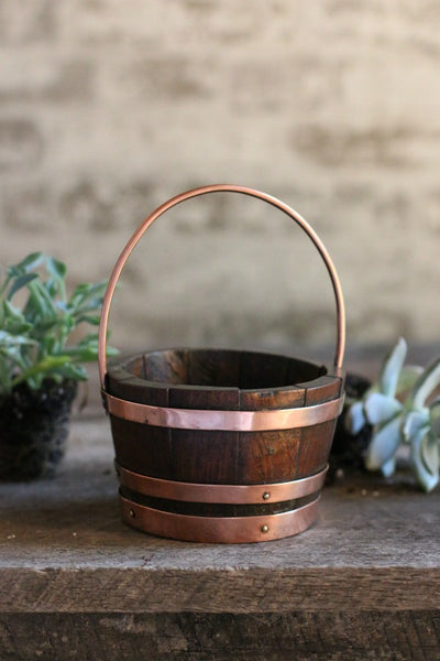 Vintage Oak & Copper Round Barrel Basket