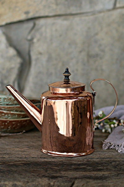 Vintage Copper Scandinavian Tea Pot | c. 1850