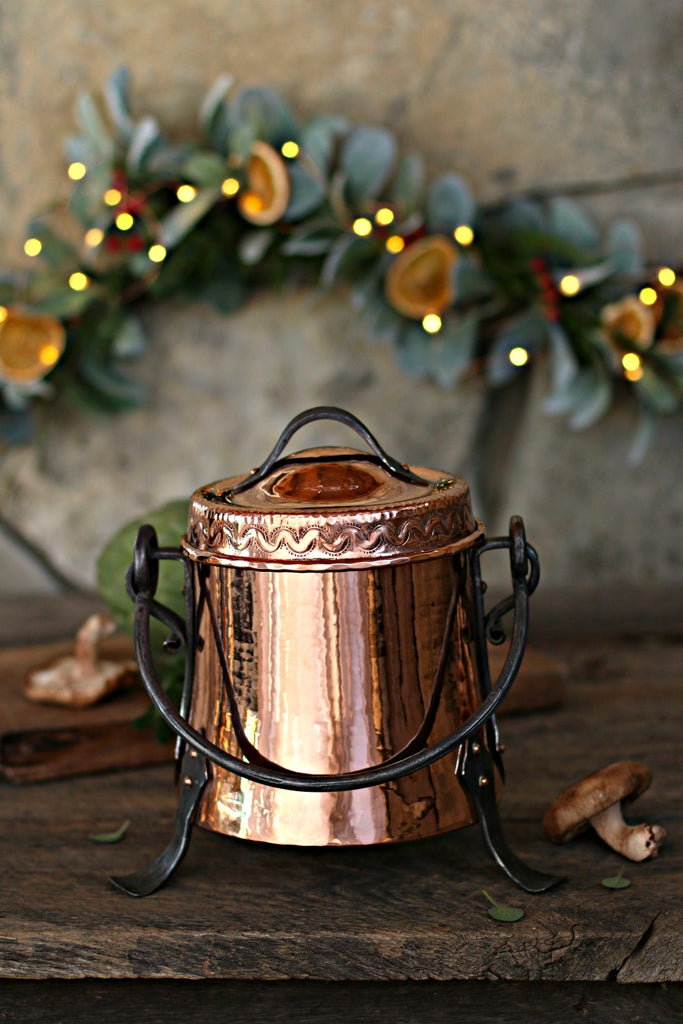 Vintage Copper Ornate Cauldron | c. 1880