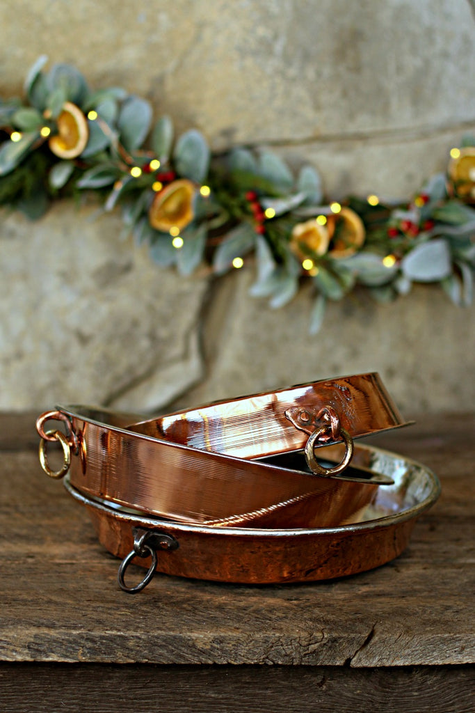 Vintage Copper Round French Baking Dishes | c. 1880