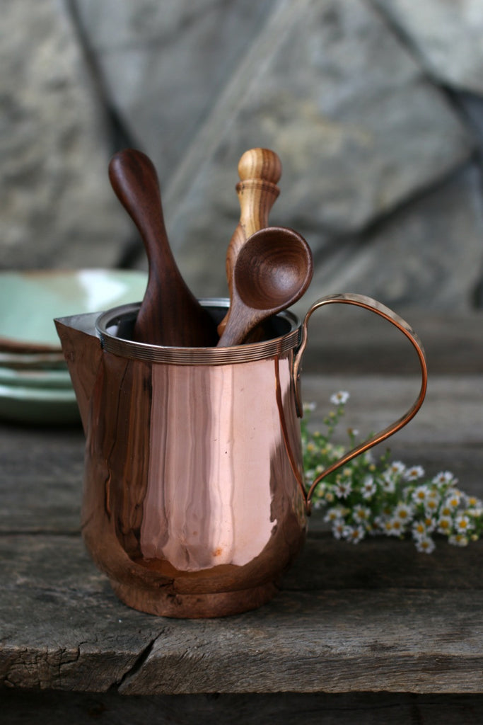 Vintage Copper Water Pitcher / Utensil Holder c. 1880