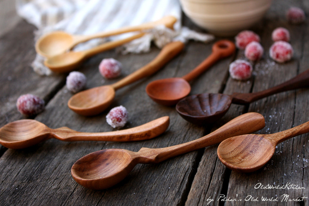 mini wooden serving spoon in assorted hardwoods