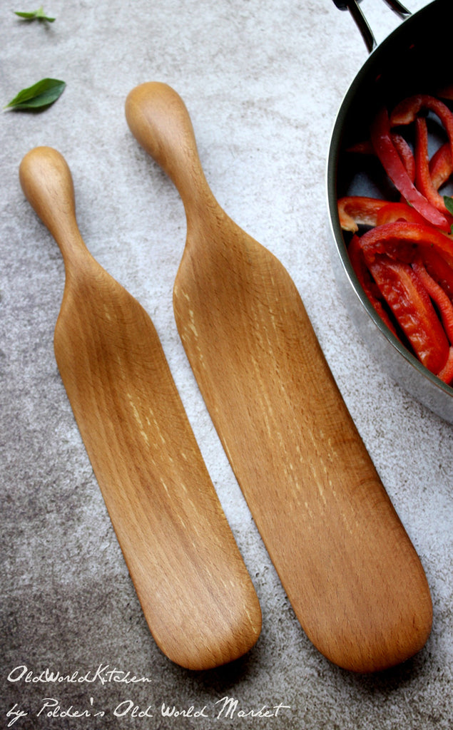 Solid Wood Spurtle Set, Two Piece Kitchen Utensil Set