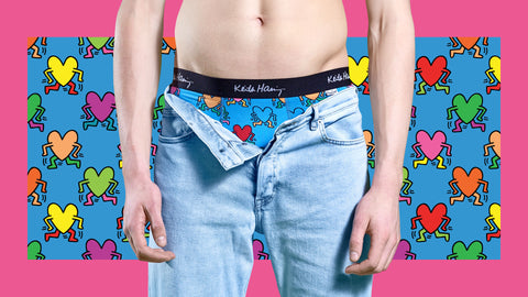 Happy Socks Keith Haring 2 Pack Box Set Boxers Trunk Valentine's day