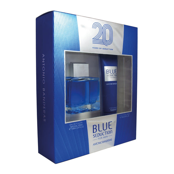 Locion, Hombre - Antonio Banderas - Set Blue Seduction For Men 20 Years 2PZS (EDT Spray 100 Ml + After Shave 75 Ml)