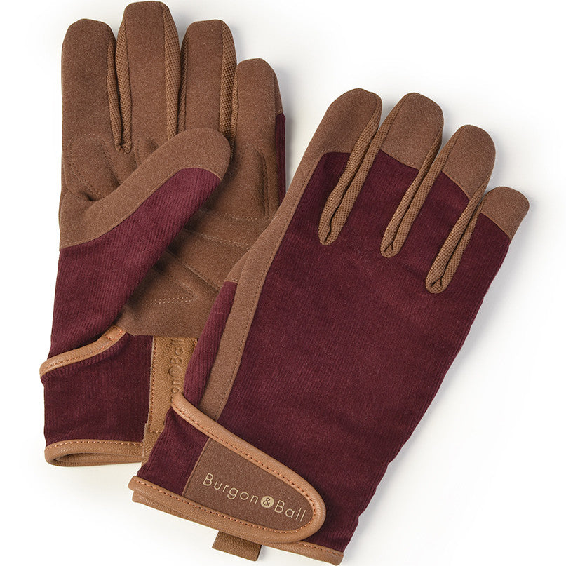 Men's Gardening Gloves - Burgundy Corduroy - The Potting Shed Garden Tools