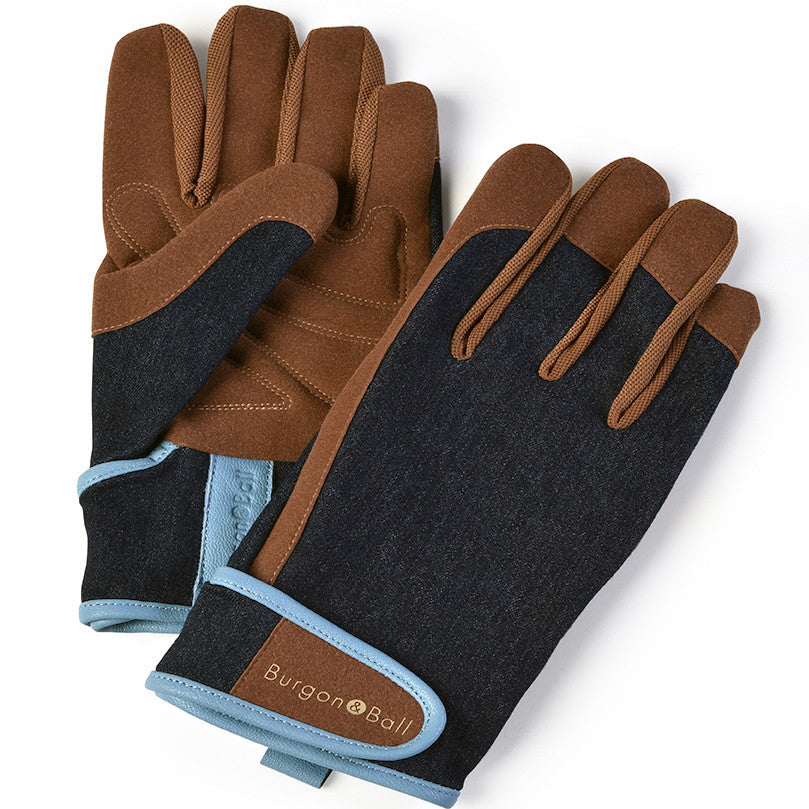 Men's Gardening Gloves - Denim - The Potting Shed Garden Tools