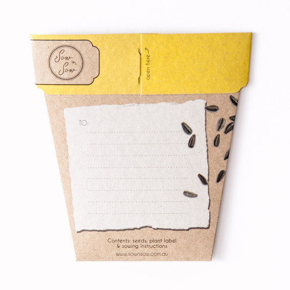 Sunflower Gift of Seeds Card - The Potting Shed Garden Tools