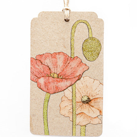 Poppy Gift Tag - The Potting Shed Garden Tools