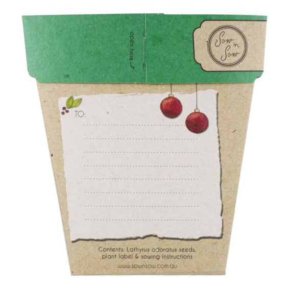Sweet Pea Christmas Gift of Seeds Card