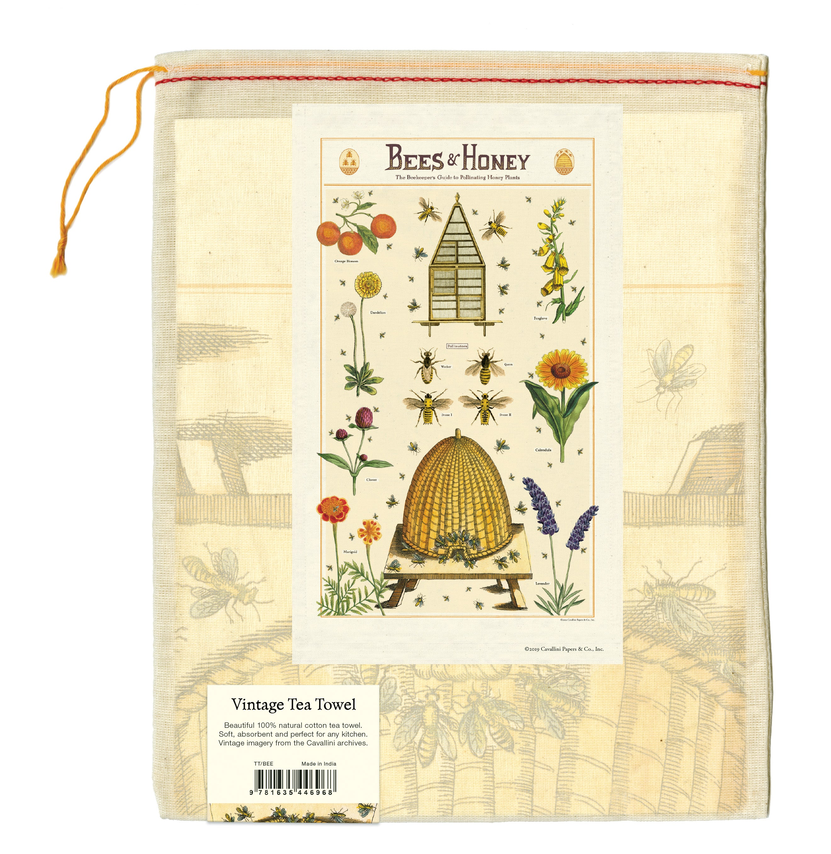 Cavallini Vintage Tea Towel - Bees & Honey