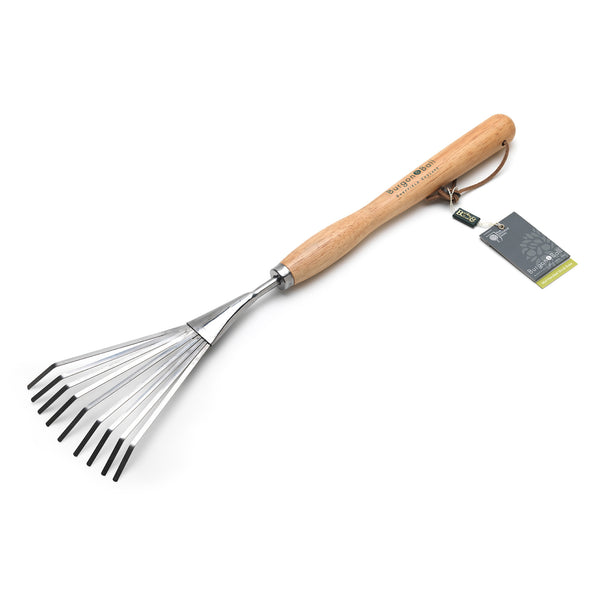 Mid Handled Shrub Rake - Stainless Steel - The Potting Shed Garden Tools