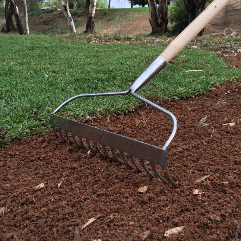 Long Handled Ground Rake - Stainless Steel - The Potting Shed Garden Tools