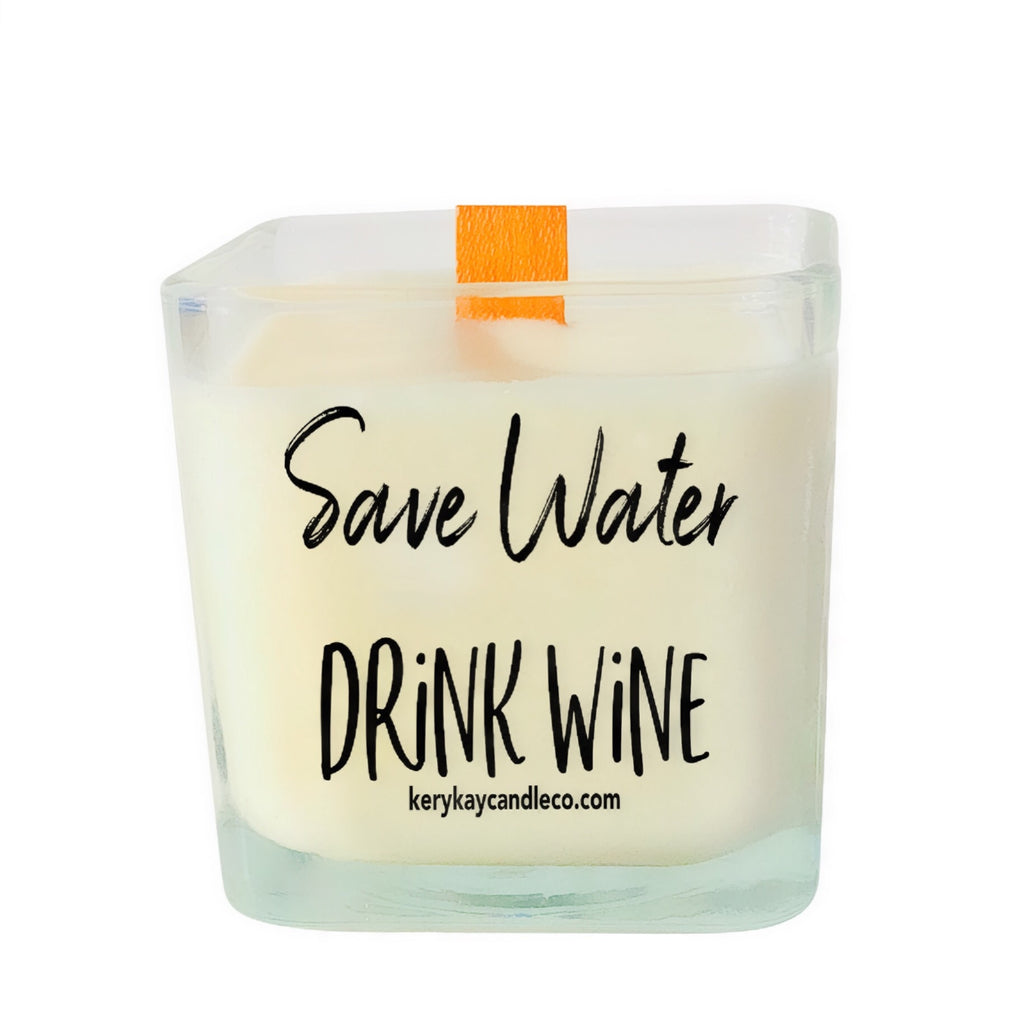 Save Water Drink Wine Candle