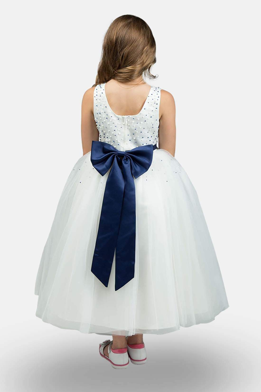 White Navy Flower Girl Dress Armoniia