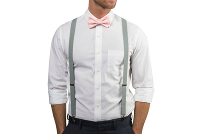 Light Gray Suspenders & Blush Bow Tie