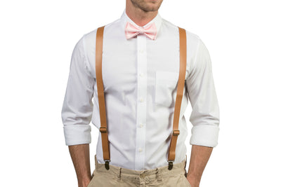 Tan Leather Suspenders & Blush Bow Tie