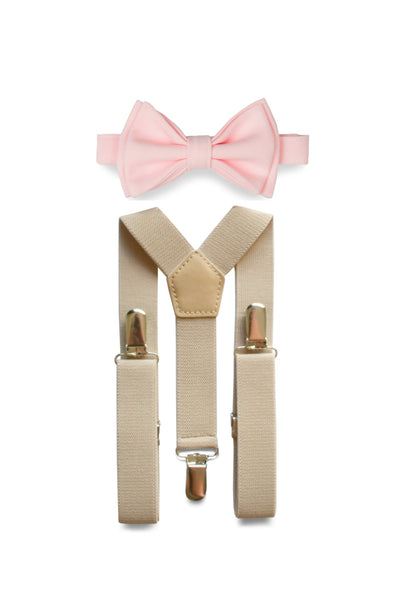 Beige Suspenders & Light Pink Bow Tie for Kids