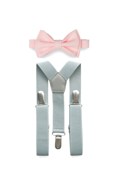 Light Grey Suspenders & Light Pink Bow Tie for Kids